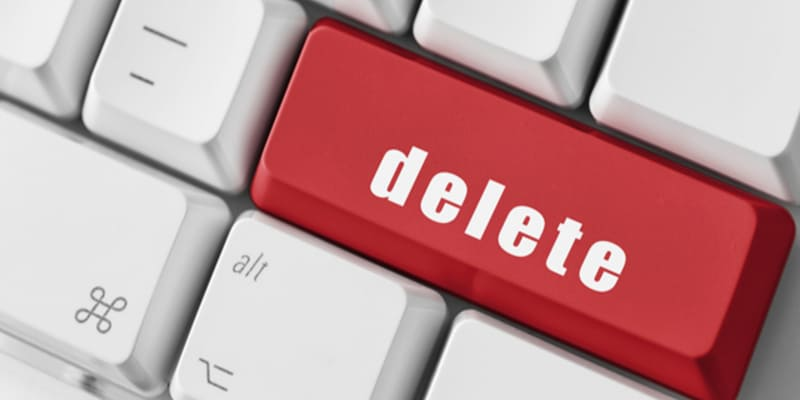 An image of a red delete button on the keyboard