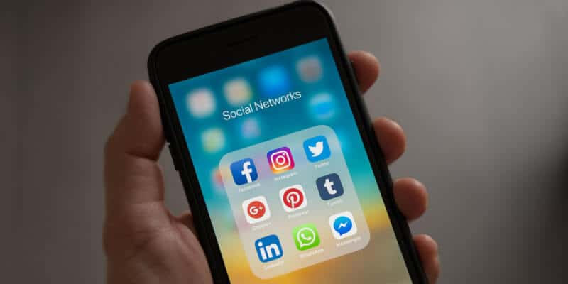 Different kinds of social media on a smartphone